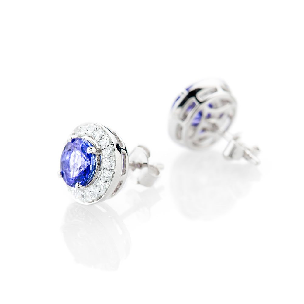 Stunning Natural Tanzanite And Diamond Earstuds - ER2364-1 Heidi Kjeldsen