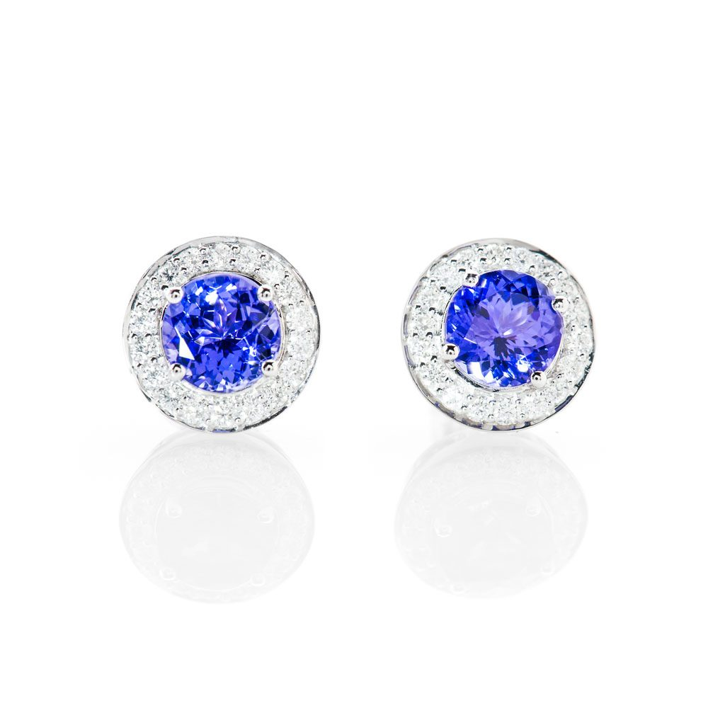 Stunning Natural Tanzanite And Diamond Earstuds - ER2364-3 Heidi Kjeldsen