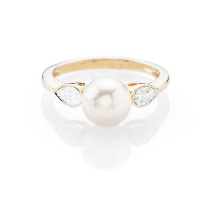 Stylish Natural Cultured Pearl And Diamond Dress Ring - R1334-1 Heidi Kjeldsen
