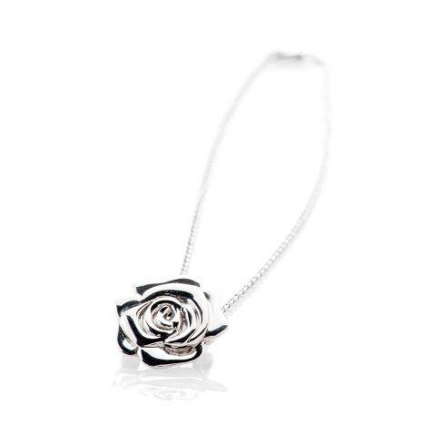 Stylish Sterling Silver Rose Brooch And Pendant - P1065+SILSP182.5-1 Heidi Kjeldsen