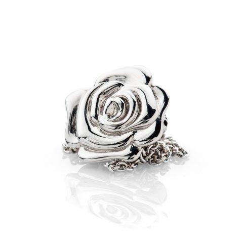 Stylish Sterling Silver Rose Brooch And Pendant - P1065+SILSP182.5-3 Heidi Kjeldsen