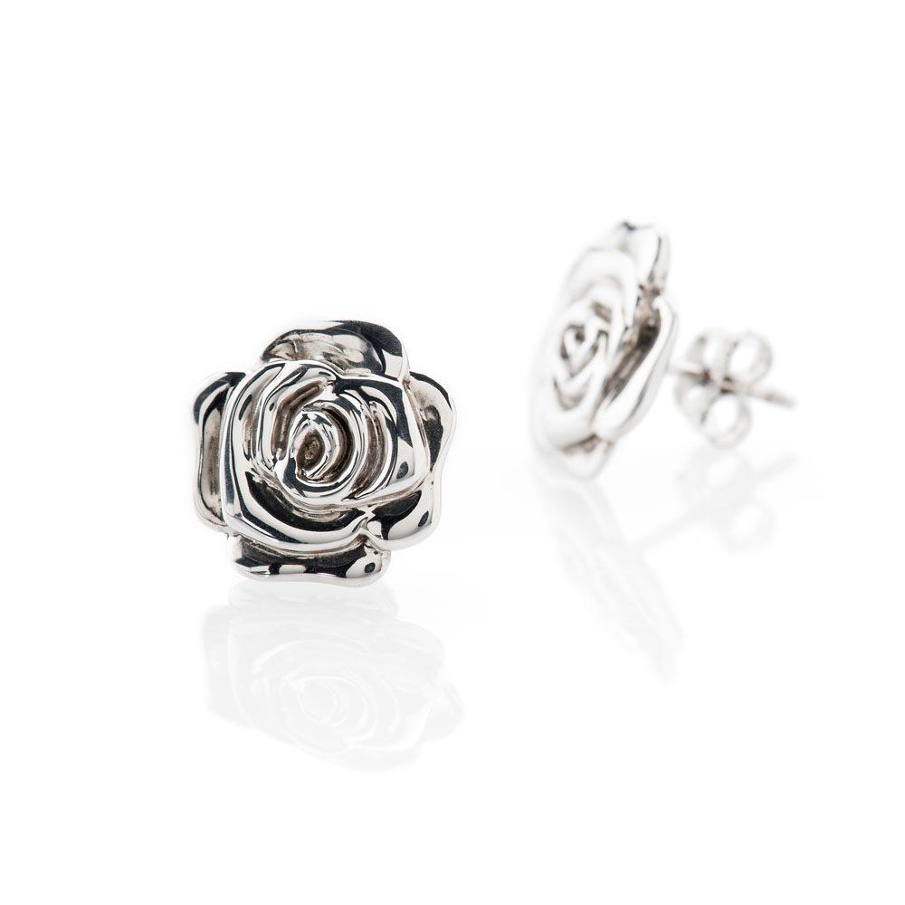Stylish Sterling Silver Rose Earrings - ER2030-1 Heidi Kjeldsen