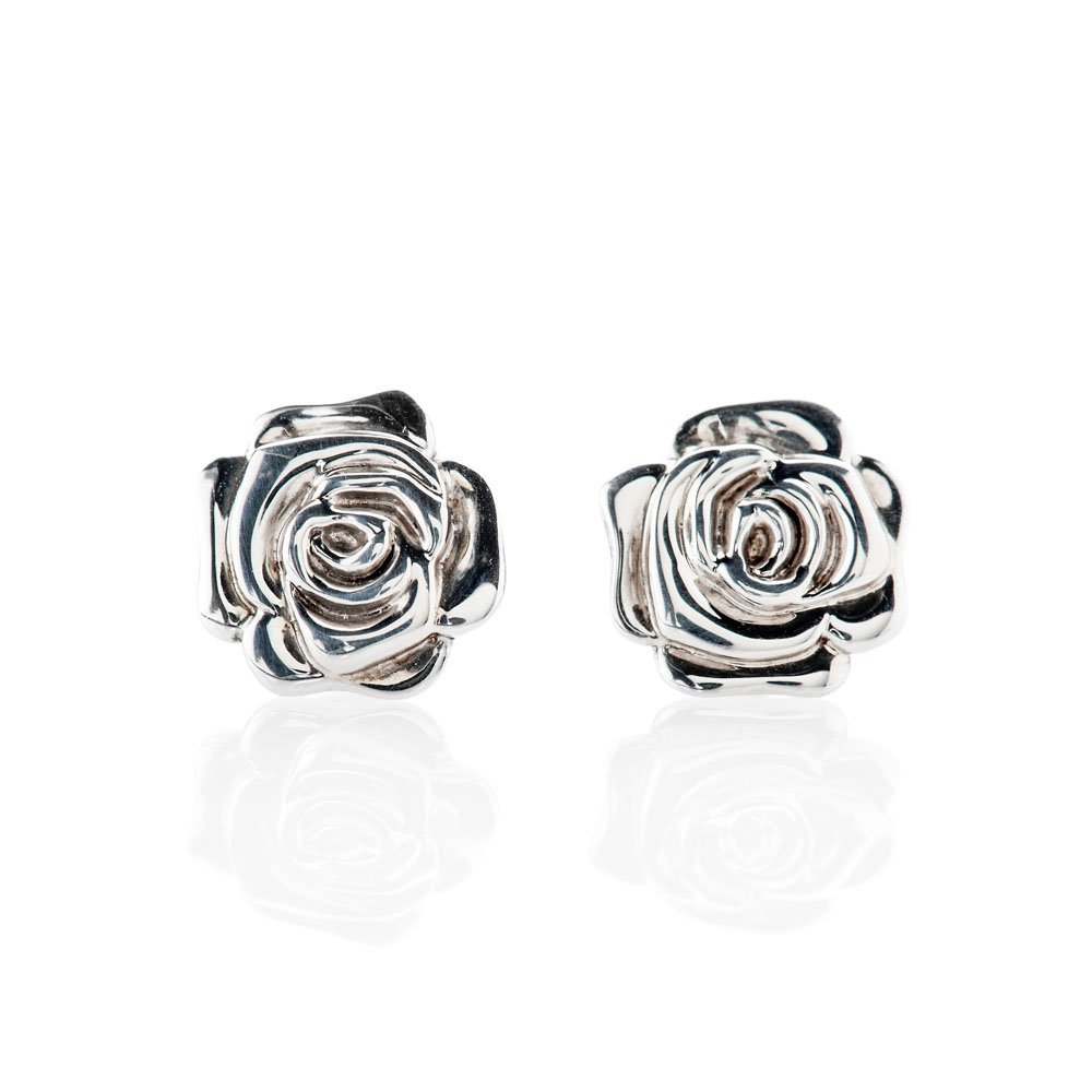 Stylish Sterling Silver Rose Earrings