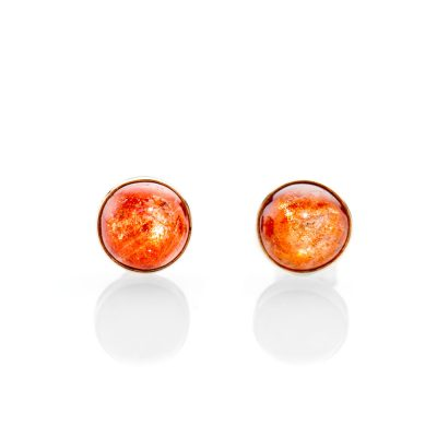Unusual Natural Sunstone And 9ct Yellow Gold Earstuds - ER2365-3 Heidi Kjeldsen