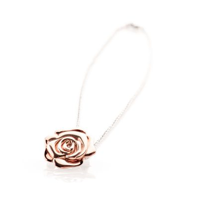 Unusual Rose Gold Plated Sterling Silver Rose Brooch And Pendant - P1066+SILBEL16-1 Heidi Kjeldsen