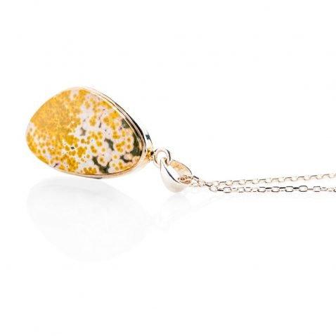 Alluring Natural Ocean Jasper And Sterling Silver Abstract Pendant - Heidi Kjeldsen Jewellery - P1124-1