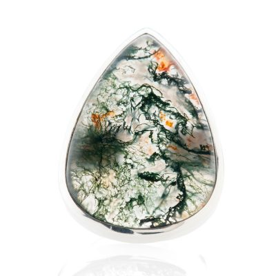 Beautiful Pear Shaped Natural Moss Agate And Sterling Silver Ring - Heidi Kjeldsen Jewellery - R1220-2