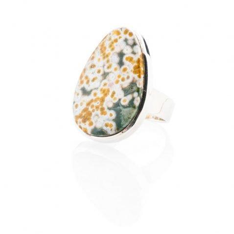 Chic Natural Ocean Jasper And Sterling Silver Drop Shaped Ring - Heidi Kjeldsen Jewellery - R1222-1