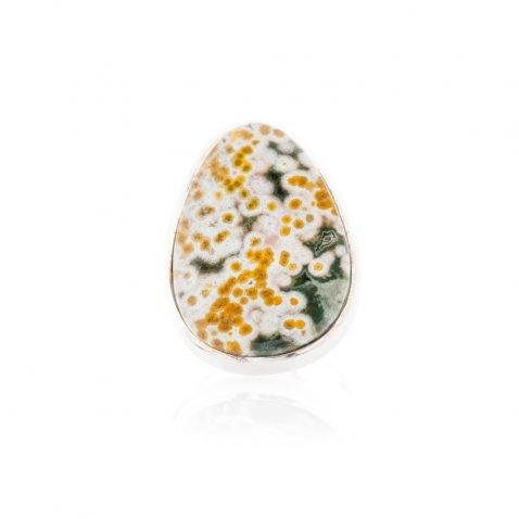 Chic Natural Ocean Jasper And Sterling Silver Drop Shaped Ring - Heidi Kjeldsen Jewellery - R1222-2