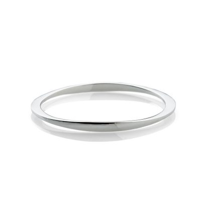 Chic Solid Sterling Silver Facetted handforged Bangle - Heidi Kjeldsen Jewellery - BL1305-1