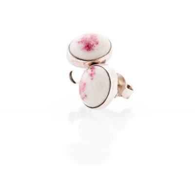 Dainty Pink Natural Cinnabite And Sterling Silver Oval Earstuds - Heidi Kjeldsen Jewellery - ER2339-2