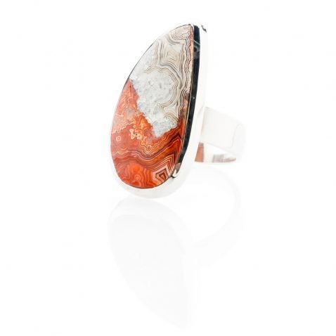 Elegant Mexican Crazy Lace Agate And Sterling Silver Drop Shaped Ring - Heidi Kjeldsen Jewellery - R1212-1
