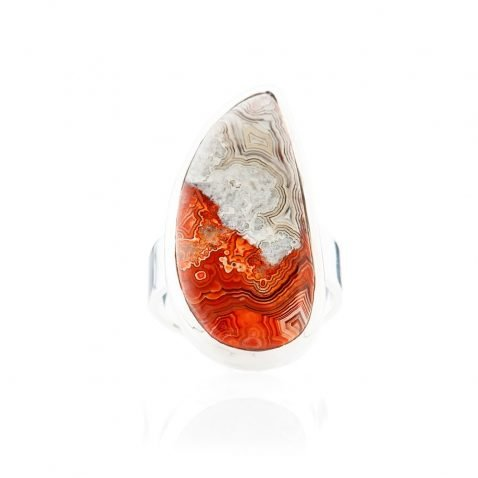 Elegant Mexican Crazy Lace Agate And Sterling Silver Drop Shaped Ring - Heidi Kjeldsen Jewellery - R1212-2