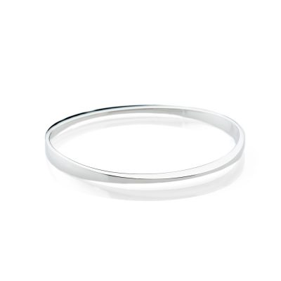 Elegant Solid Sterling Silver Facetted handforged Bangle - Heidi Kjeldsen Jewellery - BL1304-1