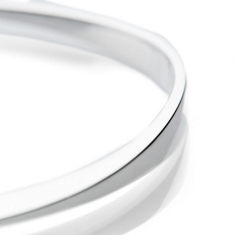 Elegant Solid Sterling Silver Facetted handforged Bangle - Heidi Kjeldsen Jewellery - BL1304-2