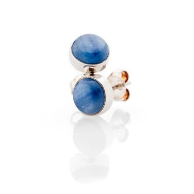 Gorgeous Natural Kyanite And Sterling Silver Round Earstuds - Heidi Kjeldsen Jewellery - ER2338-2