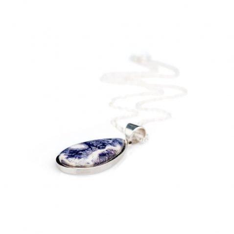 Gorgeous Natural Tiffany Stone or Bertrandite And Sterling Silver Drop Shaped Pendant - Heidi Kjeldsen Jewellery - P1125-2