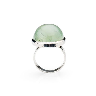 Lustrous Natural Prehnite And Sterling Silver Round Ring - Heidi Kjeldsen Jewellery - R1272-3