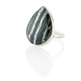 Smart Natural Chrysotile In Serpentine Sterling Silver Drop Shaped Ring - Heidi Kjeldsen Jewellery - R1270-1