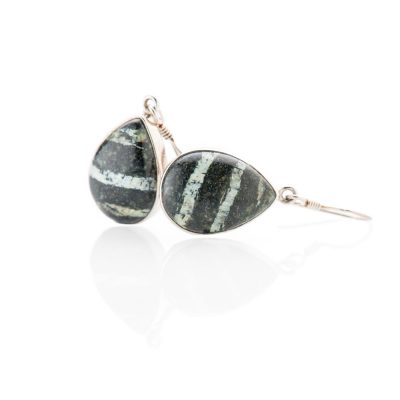 Striking Natural Chrysotile In Serpentine Sterling Silver Drop Shaped Earrings - Heidi Kjeldsen Jewellery - ER2341-2