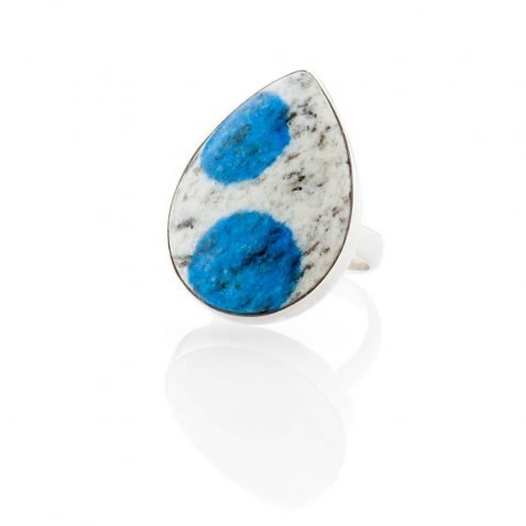 Striking Natural K2 Granite And Sterling Silver Drop Shaped Ring - Heidi Kjeldsen Jewellery - R1269-1