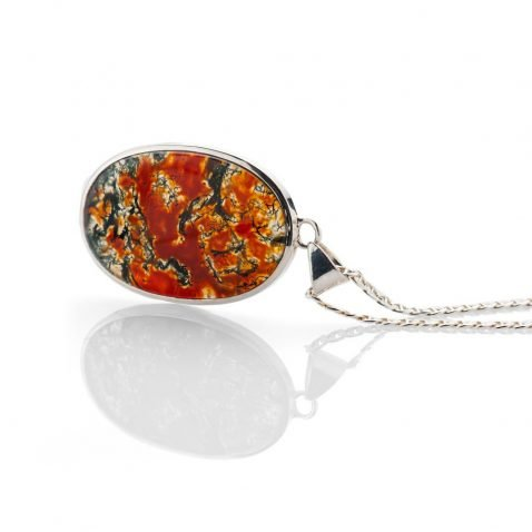 Striking Natural Moss Agate And Sterling Silver Pendant - Heidi Kjeldsen Jewellery - P1096-1-2