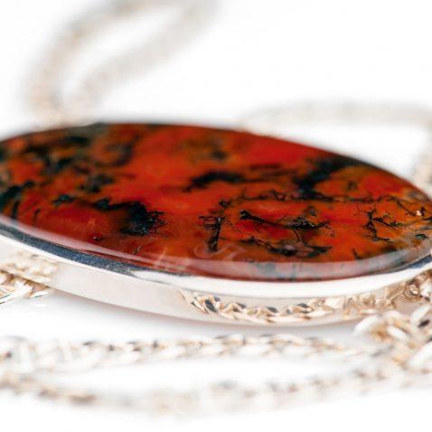 Striking Natural Moss Agate And Sterling Silver Pendant - Heidi Kjeldsen Jewellery - P1096-3
