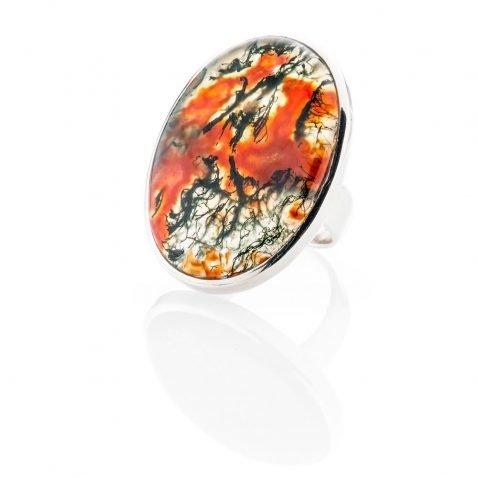Striking Natural Red Moss Agate And Sterling Silver Oval Ring - Heidi Kjeldsen Jewellery - R1221-1