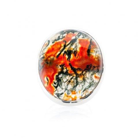 Striking Natural Red Moss Agate And Sterling Silver Oval Ring - Heidi Kjeldsen Jewellery - R1221-2
