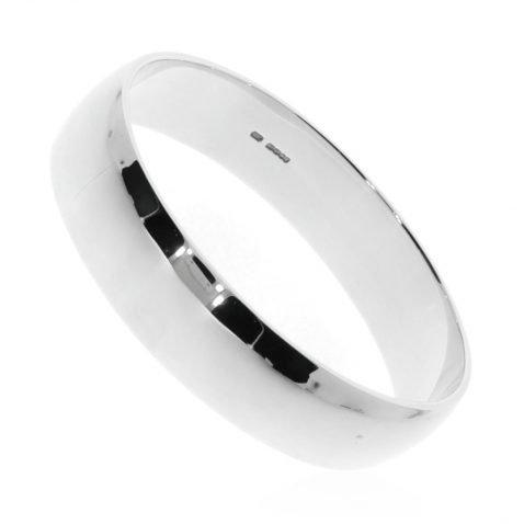 Stylish D Shaped Oval Sterling Silver Bangle By Heidi Kjeldsen Jewellery BL063 Side