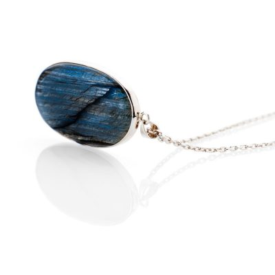 Stylish Natural Labradorite Oval And Sterling Silver Pendant - Heidi Kjeldsen Jewellery - P1219-1