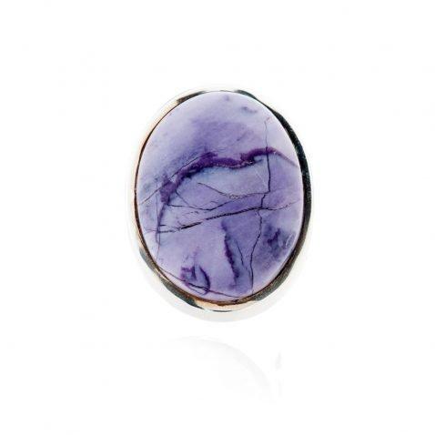 Stylish Natural Tiffany Stone or Bertrandite And Sterling Silver Oval Ring - Heidi Kjeldsen Jewellery - R1224-2