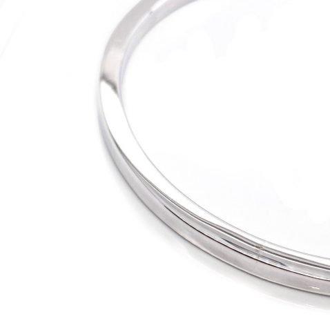 Solid stylish sterling silver handmade bangle BL1269 by Heidi Kjeldsen Jewellers close up view