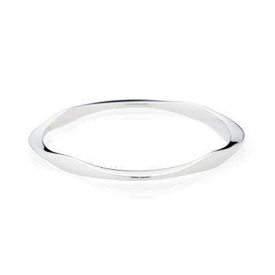 Stylish Solid Sterling Silver Handforged Square Bangle - Heidi Kjeldsen Jewellery - BL1240-1