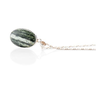 Unusual Natural Chrysotile In Serpentine oval Sterling Silver Pendant - Heidi Kjeldsen Jewellery - P1221-1