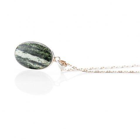 Unusual Natural Chrysotile In Serpentine oval Sterling Silver Pendant - Heidi Kjeldsen Jewellery - P1221-1