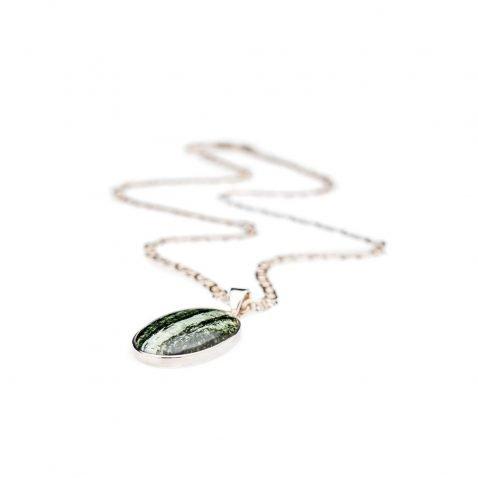 Unusual Natural Chrysotile In Serpentine oval Sterling Silver Pendant - Heidi Kjeldsen Jewellery - P1221-2