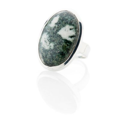 Unusual Natural Preseli Bluestone And Sterling Silver Oval Ring - Heidi Kjeldsen Jewellery - R1217-1