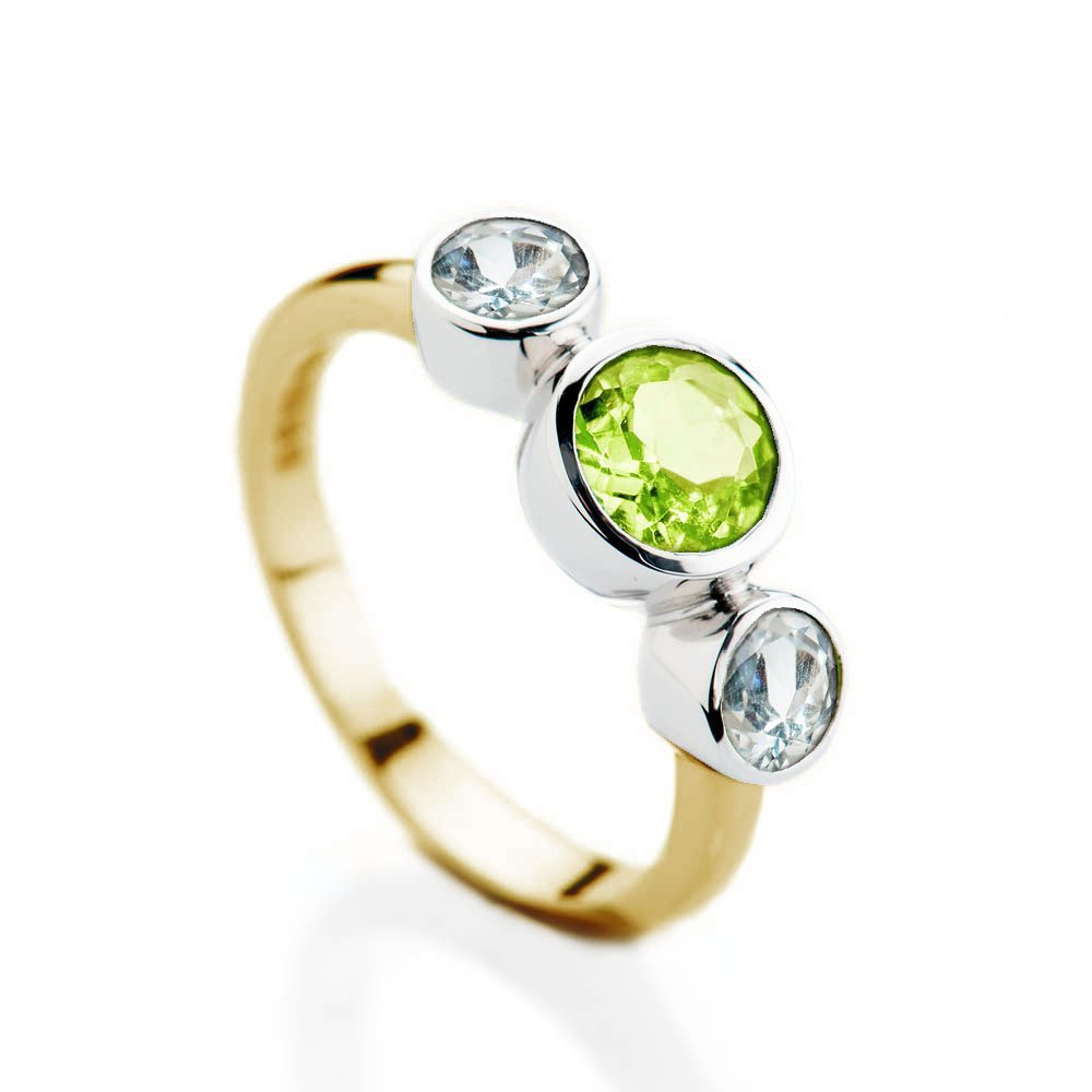 Peridot and White Sapphire 9ct yellow and white Gold three stone ring