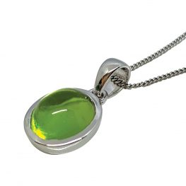Peridot oval cabochon and 9ct white gold pendant - Sunlight Collection - 2019 - Heidi Kjeldsen - P1252