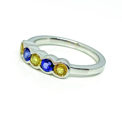 Yellow and blue natural sapphire five stone ring - 18ct white gold - Heidi Kjeldsen Jewellery - Sunlight Collection - R1525
