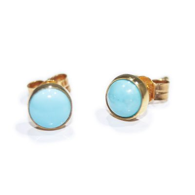 Alluring Natural Turquoise and Gold Earstuds - Heidi Kjeldsen Jewellers - ER2058