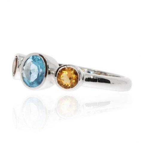 Dreamy Blue Topaz and Citrine Dress Ring - Heidi Kjeldsen Jewellery Side