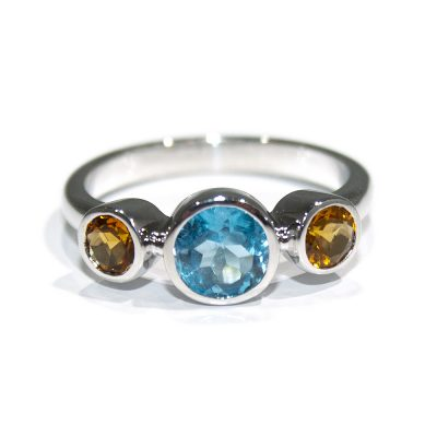 Dreamy Enchanced Blue Topaz and Citrine Dress Ring - Heidi Kjeldsen Jewellers - R1543