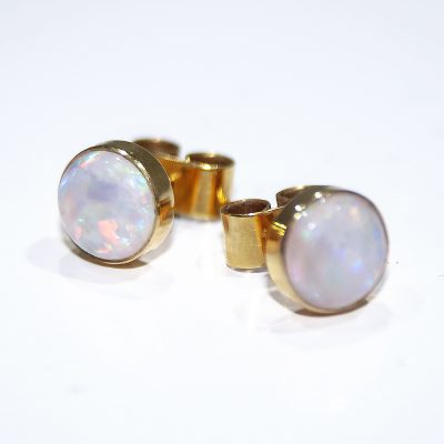 Elegant Natural Opal and Gold Earstuds - Heidi Kjeldsen Jewellers - ER1936
