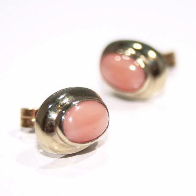 Elegant Sustainable Natural Pink Coral and Gold Earstuds - Heidi Kjeldsen Jewellers - ER2215