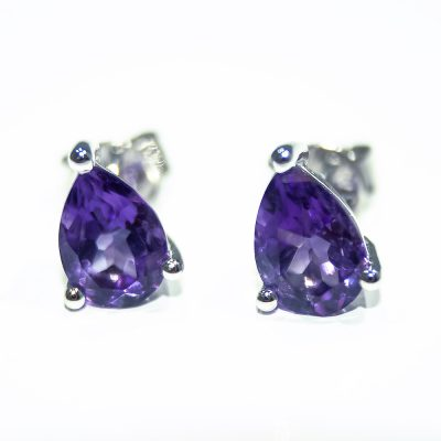 Gorgeous Pear Cut Natural Amethyst Earstuds - Heidi Kjeldsen Jewellers - ER1933B