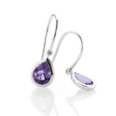 Heidi Kjeldsen - Rich Natural Amethyst and White Gold Drop Earrings - ER927