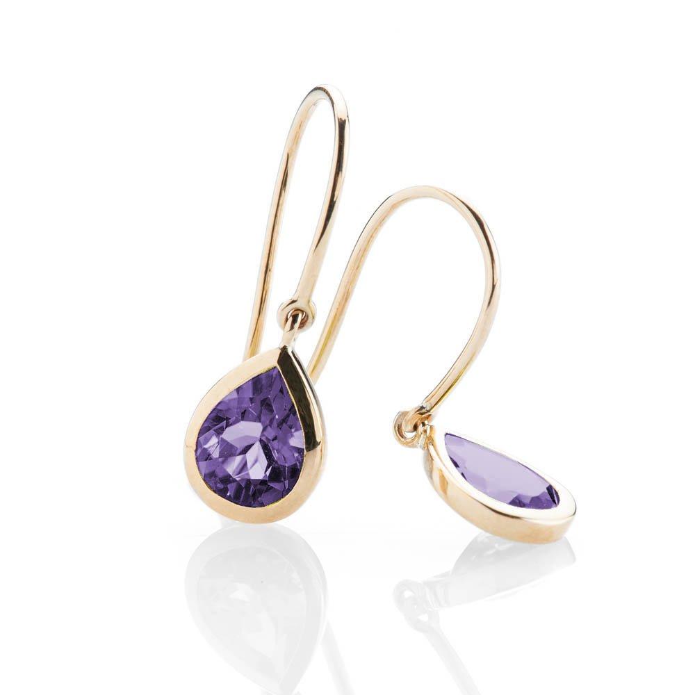 Heidi Kjeldsen - Striking Natural Amethyst And Gold Drop Earrings - ER928