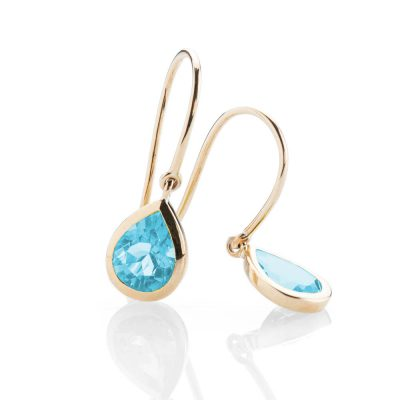 Heidi Kjeldsen - Stylish Enhanced Blue Topaz and Gold Drop Earrings - ER925